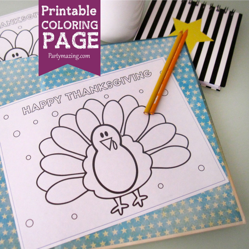 FREE PRINTABLE Cute Turkey Thanksgiving Coloring Page