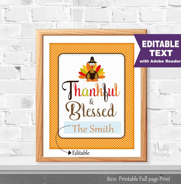 photograph about Thankful Printable named Grateful and Fortunate Editable Thanksgiving Print, Editable Phrases Signal, Turkey Printable Indicator,Instantaneous Down load -D842 HOTH1