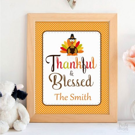Thankful and Blessed Editable Thanksgivng Print, Editable Text Sign, Turkey Printable Sign,Instant Download -D842 HOTH1