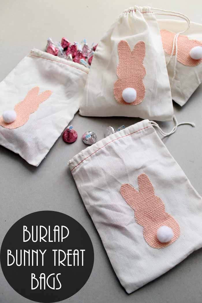 Burlap Bunny Treat Bags and 33 Easter Party Decor Ideas and Crafts for your Egg Hunting Party - Get ready for this happy celebration with the kids.