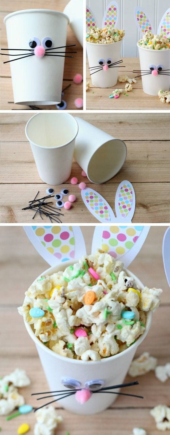 DIY BUNNY POPCORN CUPS AND 33 Easter Party Decor Ideas and Crafts for your Egg Hunting Party - Get ready for this happy celebration with the kids.