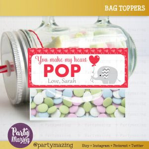 Editable Printable Valentine Bag Topper, Elephant with Balloon Tag, You make my heart pop Tag, Label D654- BBEB2