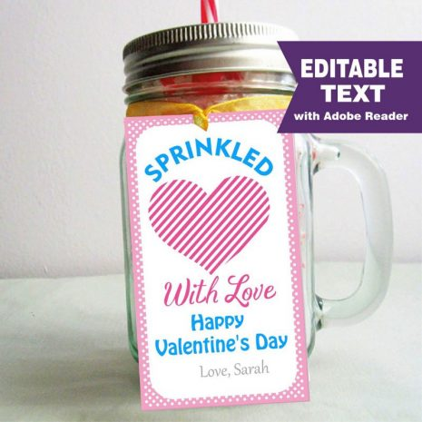 Editable Sprinkled with love Valentine's day Tag, Happy Valentines day Tag, Rectangle Printable Tag D962