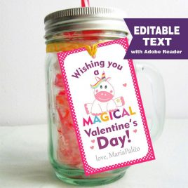 Editable Unicorn Valentine's day Tag, Wishing you a Magical Valentines day Tag, Rectangle Printable Tag D991