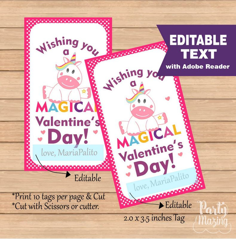 image regarding Printable Valentine Tag identified as Editable Unicorn Valentines working day Tag, Wishing by yourself a Magical Valentines working day Tag, Rectangle Printable Tag D991