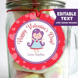 Editable Valentine Tags, Printable Stickers, Thank You Party Favor Tag, Cupcake Toppers, Elephant Party, Instant Download -D720