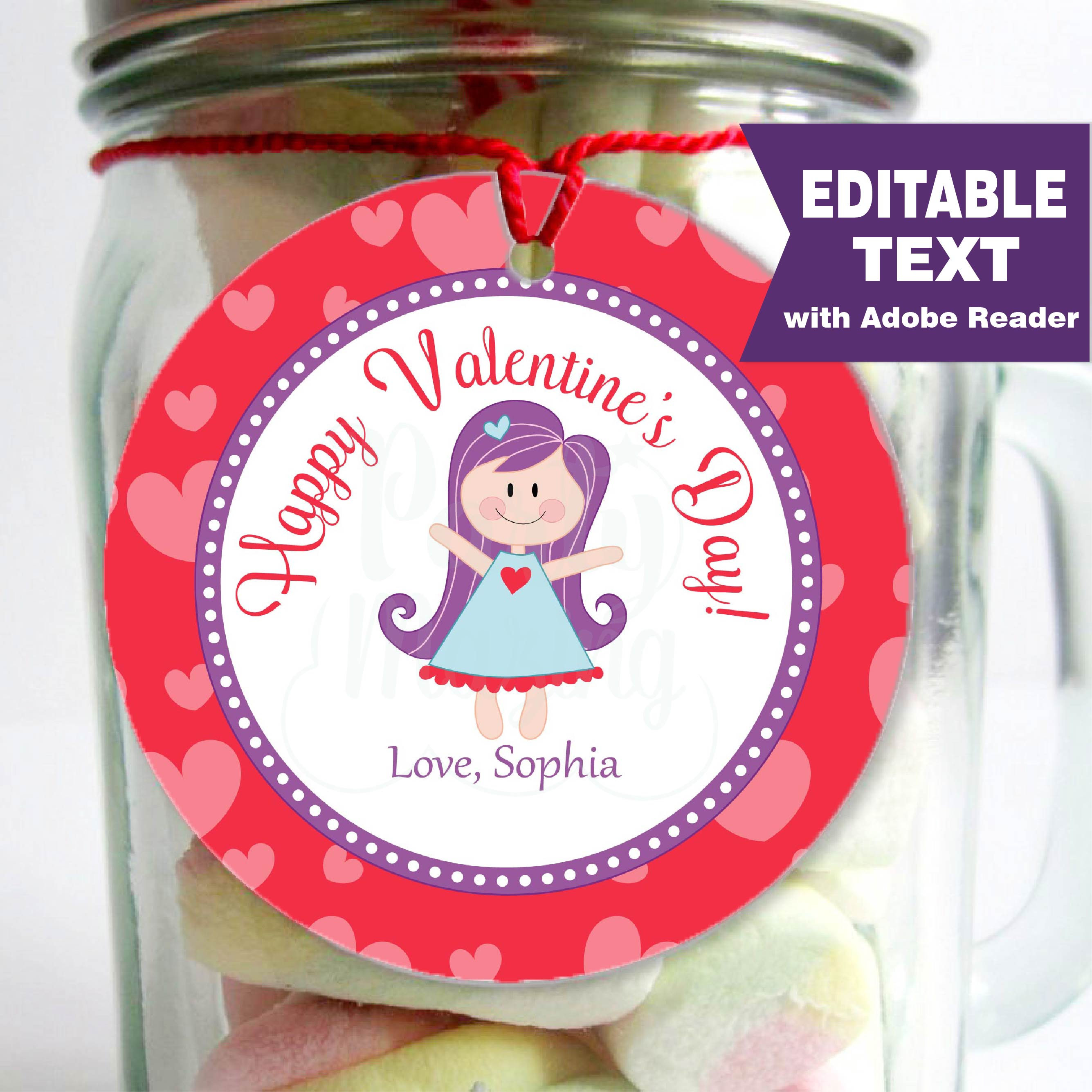 Editable Valentine Tags, Printable Stickers, Thank You ...