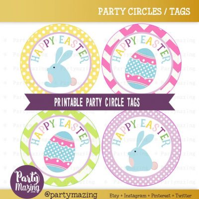 Easter Tags, Printable Stickers, Cupcake Toppers Party Circle Tags | E446 HOEA1