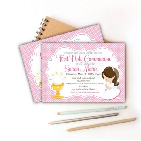 First Communion Invitation, Printable invitation, Girl's First Communion Invitations, Invitation COM1 D686