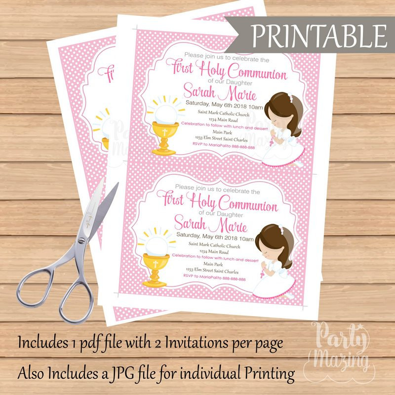 graphic relating to Printable First Communion Invitation known as Initial Communion Invitation, Printable invitation, Gals 1st Communion Invites, Invitation COM1 D686