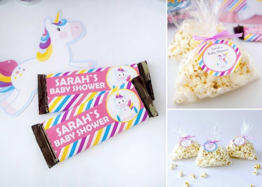 Prinmtable Unicorn Baby shower Favor tags and labels.