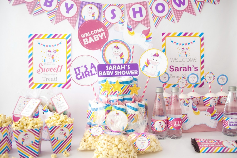 Full Party. EDITABLE Magical Unicorn Baby Shower Party Set. Create the perfect Magical Unicorn baby shower Party using this amazing set by Partymazing.