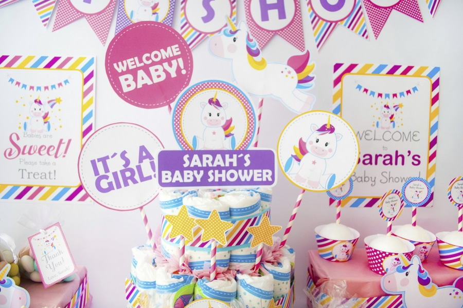 Full party Sample, EDITABLE Magical Unicorn Baby Shower Party Set. Create the perfect Magical Unicorn baby shower Party using this amazing set by Partymazing.