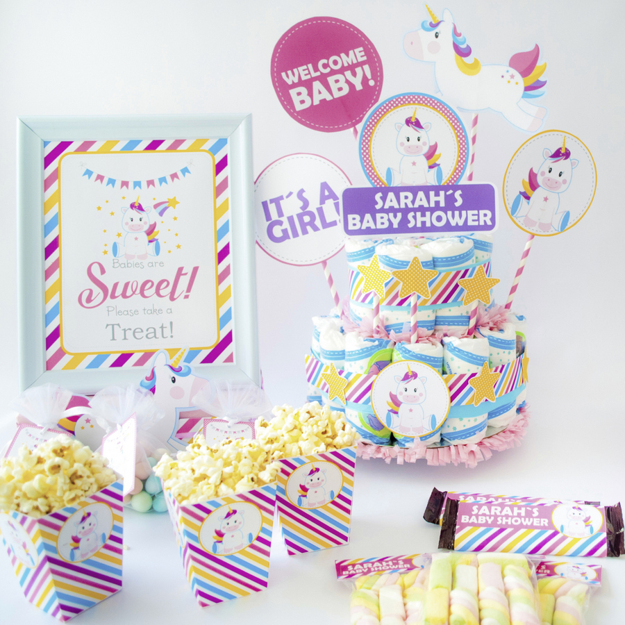 EDITABLE Magical Unicorn Baby Shower Party Set. Create the perfect Magical Unicorn baby shower Party using this amazing set by Partymazing.