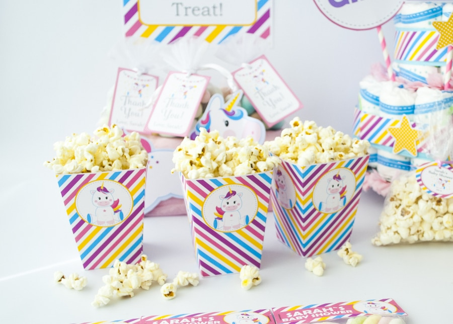 Unicorn popcorn boxes. EDITABLE Magical Unicorn Baby Shower Party Set. Create the perfect Magical Unicorn baby shower Party using this amazing set by Partymazing.