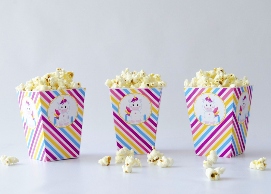 Printable Unicorn Popcorn Boxes . EDITABLE Magical Unicorn Baby Shower Party Set. Create the perfect Magical Unicorn baby shower Party using this amazing set by Partymazing.