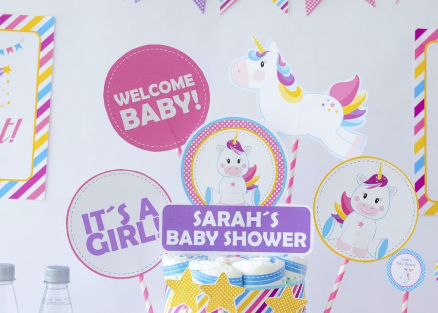 Printable Unicorn Baby Shower Centerpiece
