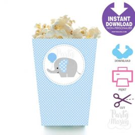 Printable Blue Elephant Popcorn Box, DIY Party Favor Box, Instant Download BBEB1 XWZ -D681