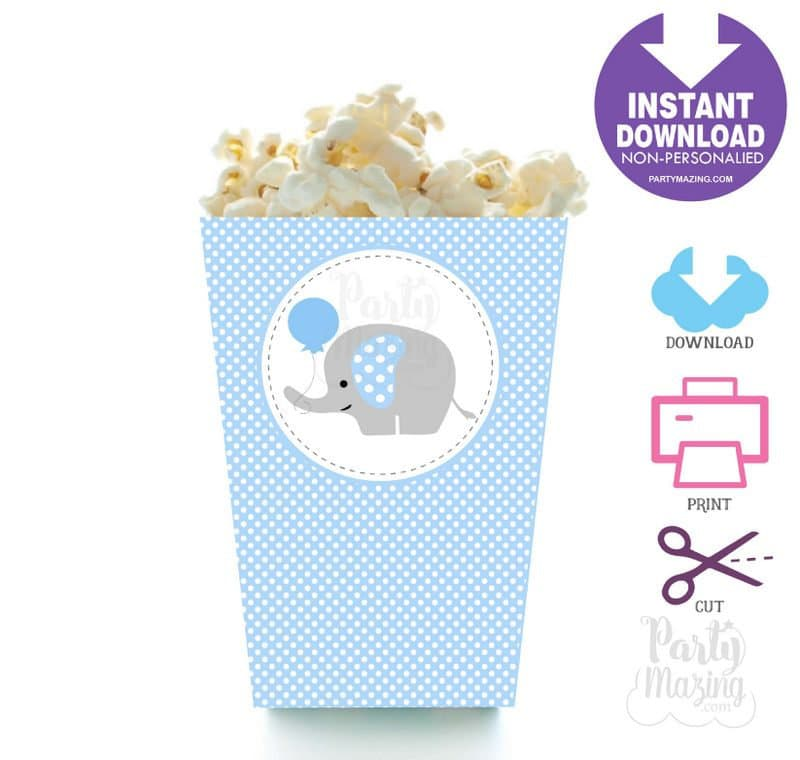 image regarding Popcorn Box Printable called Printable Blue Elephant Popcorn Box, Do-it-yourself Social gathering Prefer Box, Quick Obtain BBEB1 XWZ -D681