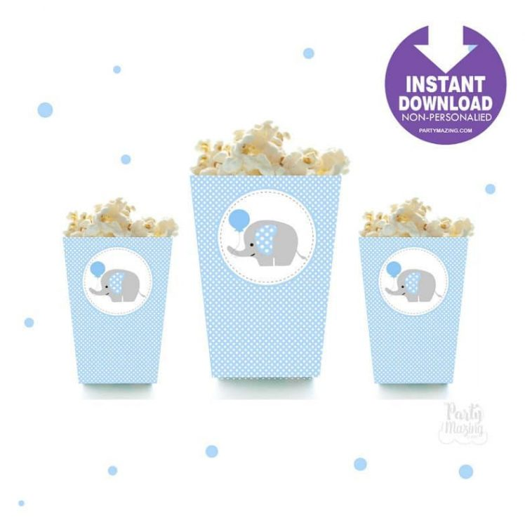 Printable Elephant Popcorn Box, DIY Party Favor Box, Instant Download BBEB1 XWZ -D681