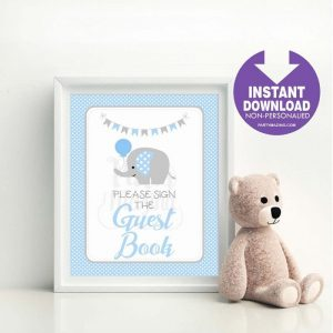 Printable Guest Book Party Sign, Party, Baby Blue and Gray Elephant Party Sign, Diy Sign, Instant Download BBEB1 XWZ -D939