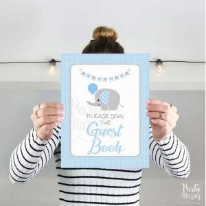 Printable Blue Elephant Guest Book Party Sign, Party, Baby Blue and Gray Elephant Party Sign, Diy Sign, Instant Download BBEB1 XWZ -D939