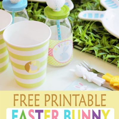 Printable Easter Bunny Water Bottle Labels F006