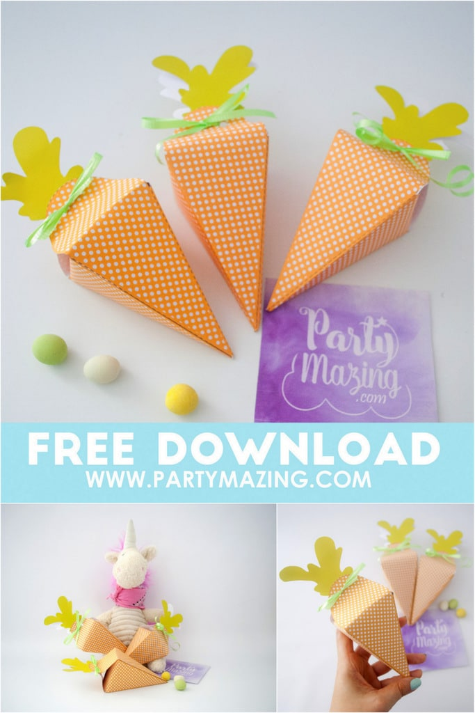 Free Easter Carrot Box Printable Template - Bring your scissors and some ribbon, today we are going to make a Easter Printable Carrot Box using a Free template by Partymazing.