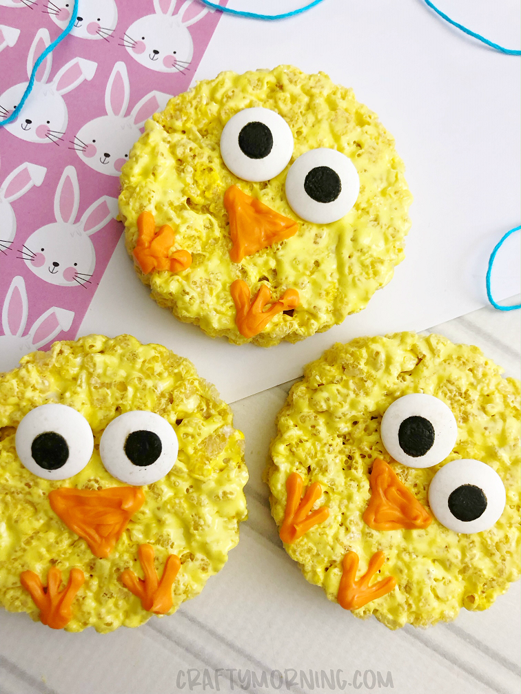 This image has an empty alt attribute; its file name is Rice-Krispie-Easter-Chicks.png