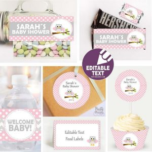 Editable Pink Owl Baby Shower Label Set | Printable Table Kit | Girl Party Package | E165