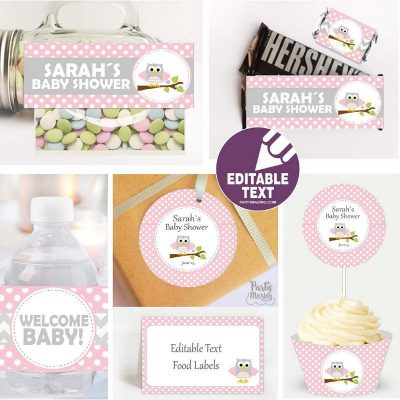 Editable Pink Owl Baby Shower Label Set | Printable Table Kit | Girl Party Package | Modern Personalized Labels | Wrappers | BBOP1 | E165