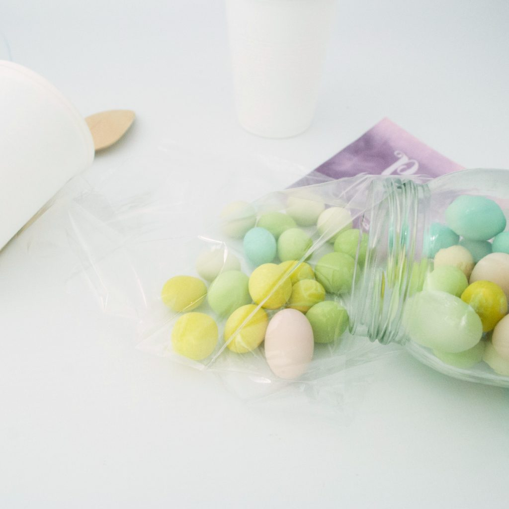 candy almonds in a bag - Easy DIY Teacher Gift using a Plastic Cup Tutorial