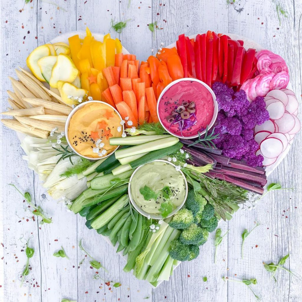 hearth healthy plate of veggies, Colorful Healthy Food Ideas and Tips for Your Party Table by Partymazing