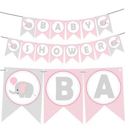 Pink Elephant Printable Baby Shower Banner   E159