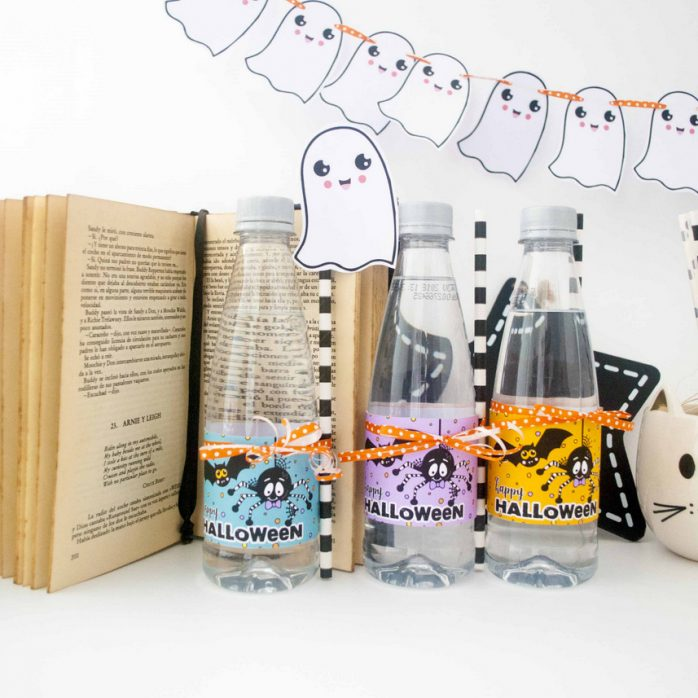 Free Spider and Bat Halloween Water Bottle Labels by Partymazing and ThePartyKitShop (6)