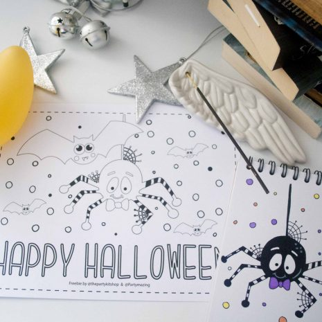 Free Cute Spider and Bat Halloween Coloring Page by Partymazing.com