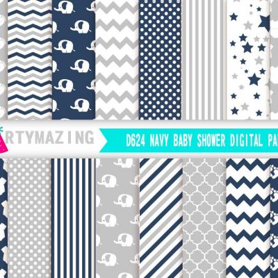 16 Pages Navy Blue Elephant Digital Paper Pack   E367