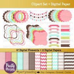 37 Frame, Bracket, scalloped Frames and Digital Paper Clipart Set Pack | E355