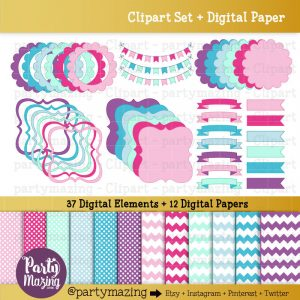 37 Pink Pastel Frame and Ribbon Clipart & Paper Set for Digital Scrapbooking or Design Element Pack | E294