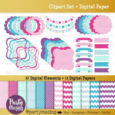 37 Pink Pastel Frame and Ribbon Clipart & Paper Set  E294