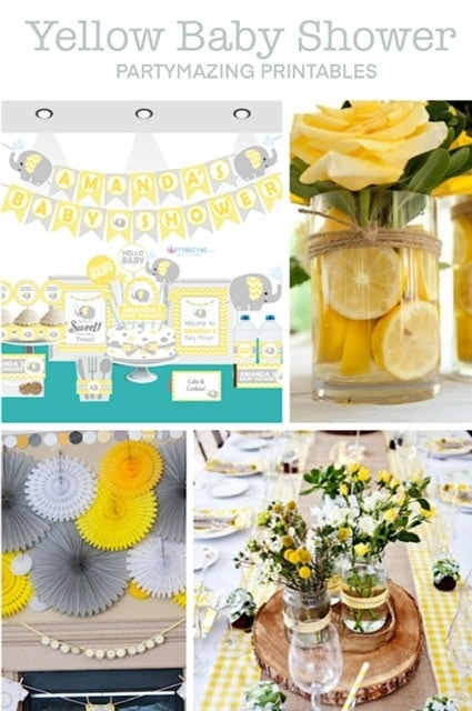 Yellow elephant baby shower party