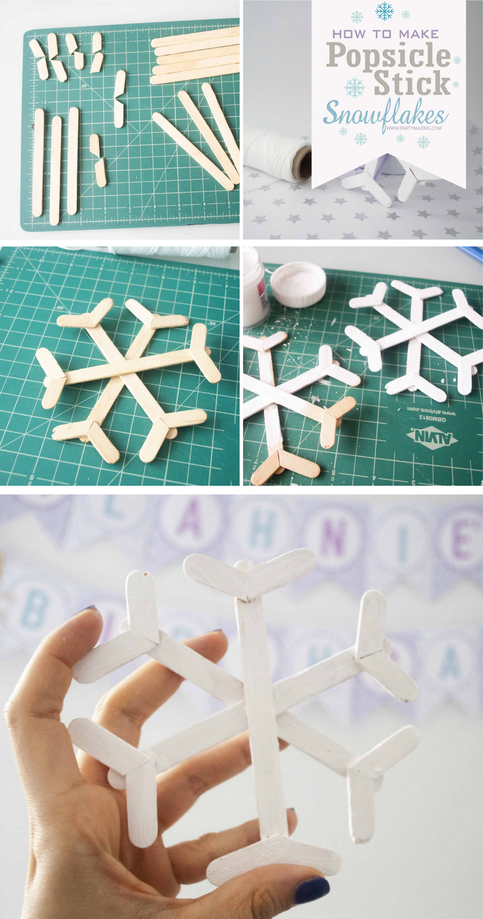 How to make Popsicle Stick Snowflakes Promo