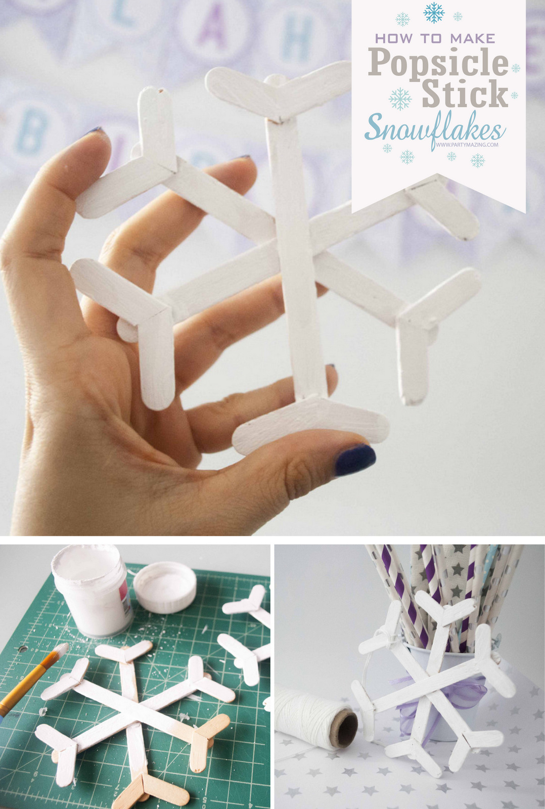 How to make Popsicle Stick Snowflakes Promotional Picture