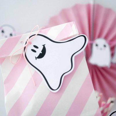 Printable Mini Ghost Pink Halloween Tags F017