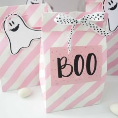 Printable Mini Ghost Pink Halloween Tags F017
