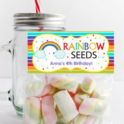 Editable Rainbow Seeds Treat Bag Toppers for your Party Favors | PK12 | E031