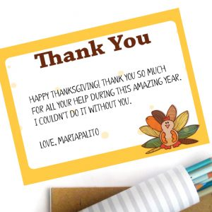 Thanksgiving Printable Thank You Notes, Instant Download | F021