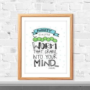 Anxiety Hand-Drawn Printable Sign, Anti Anxiety Attack Sign | E371