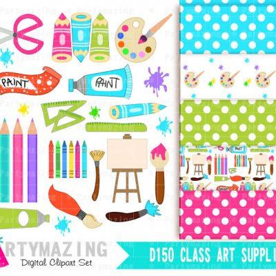 Art Class ClipArt Set including Digital Paper Pack E292