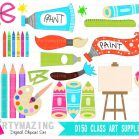 Art Class ClipArt Set including Digital Paper Pack E292